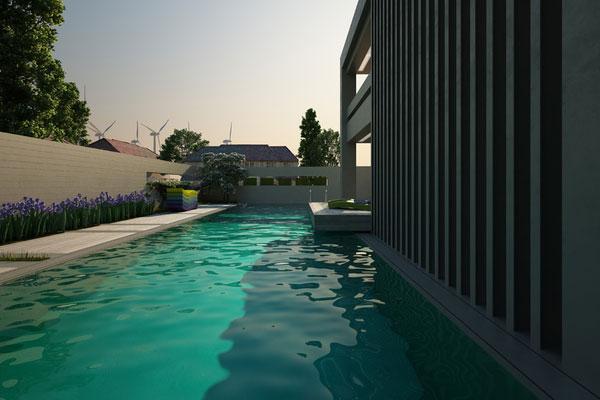 Modernaus stiliaus lauko baseinas Bulgarijoje