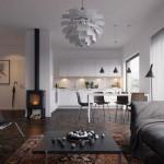 Skandinaviško stiliaus svetainės interjeras