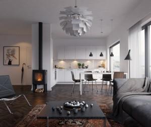 Tipiškas skandinaviškas stilius: dėmesys apšvietimui, baltai spalvai ir židiniui