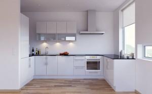 Minimalistinis funkcionalus virtuvės interjeras