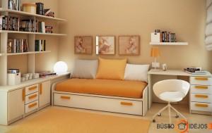 Švelnių, šiltų tonų oranžinis kambarys