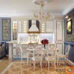 Puikus klasikinių baldų pavyzdys virtuvėje bei valgomajame