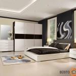 Sienų spalva derinta su baldais. Juodai balta itin populiaru