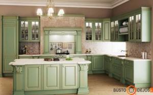 Žalsva klasikinių baldų virtuvė