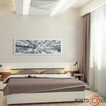 Šviesus, paprastas ir mažas miegamasis su puikiu akcentu - paveikslu