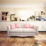 Svetainės akcentas - sofa ir dideli paveikslai