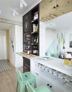 Baras atskiria svetainę nuo virtuvės