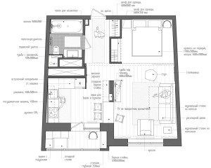45 kvadr. metrų ploto buto planas