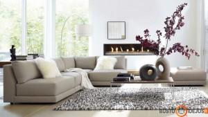 Žemės atspalvių minimalistinis svetainės interjeras