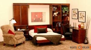 Darbo kambario interjeras su sienine lova