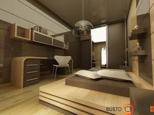 Modernus miegamojo interjas, kuriame įrengta darbo zona