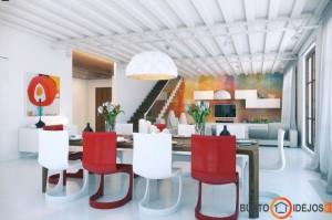 Plytos loftuose dažniausiai dažomos baltai, tačiau tokia margai dažyta siena - puikus kambario akcentas