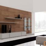 Medinė siena suteikia svetainei šilumos ir jaukumo