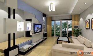 Originalaus ir modernaus dizaino siena už televizoriaus