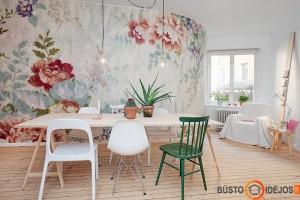 Išskirtinumo šiam valgomajam suteikia sienų dekoras (šiuo metu itin madinga sienas puošti medžiaga), skirtingo dizaino kėdės. Akcentas- žalia kėdė