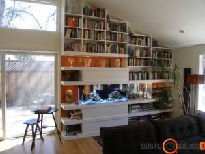 Akvariumas knygų lentynoje