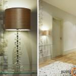 Didesnėje patalpoje stalinis šviestuvas suteikia šarmo