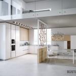 Minimalistinis virtuvės interjeras lofte