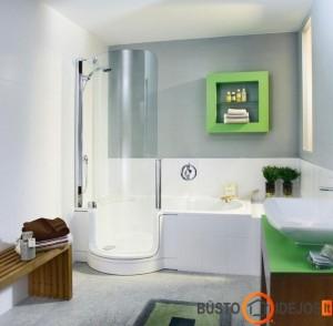 Vonia su įrengtu dušo stovu - pratiškiausias variantas mažame vonios kambaryje