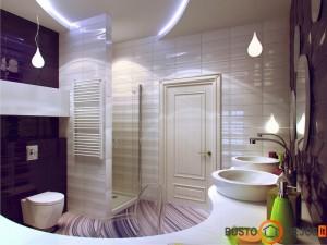 Vonios kambarys apstatytas ratu, įrengtas laikantis Feng shui principų