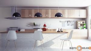 Virtuvės sala iš baltų plytų