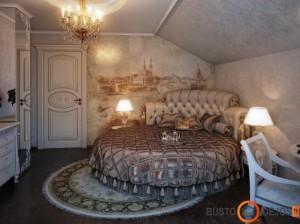 Prabangos suteikia freska ir apvali lova