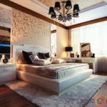Juodos ir pastelinių spalvų žaismas miegamajame
