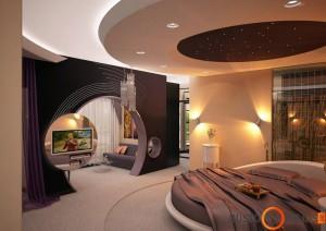 Modernaus stiliaus glamūro miegamojo interjeras