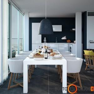 mėlynai dažyta virtuvė atrodo elegantiškai ir organiškai. Mėlyna - apetitą skatinanti spalva
