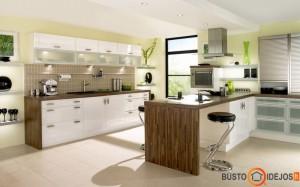 Virtuvės interjeras su dideliu langu juodais rėmais