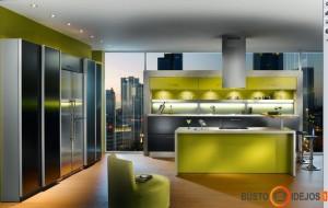Įdomus sprendimas pagrindinius virtuvės baldus įrengti ties vitrininiais langais
