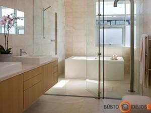 Įdomus sprendimas - atitverti stikline pertvara ne tik dušo vietą, bet ir vonią