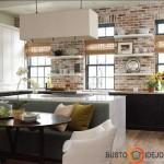 Virtuvės ir valgomojo baldų spalvų gama nuostabiai tinka prie plytų mūrinio
