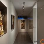 Kryptingas apšvietimas išryškina meno kūrinius
