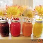 Dažyti stiklainiai - puikios vazos