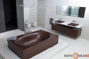 Išpuoselėta medinė vonia ir praustuvai