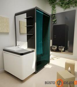 Įdomi dušo kabina: iš vienos pusės praustuvas, iš kitos- unitazas ir bidė - idealiai tinka mažam vonios kambariui