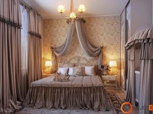 Klasikinio stiliaus miegamasis, kur vyrauja daug tarpsusavyje derančios tekstilės