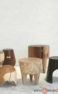 Sudėtingesni staliaus gaminti rąstiniai staliukai/ kėdės