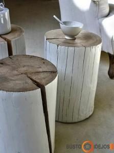 Keli baltai dažyti rąstiniai staliukai - jauku ir taip organiška