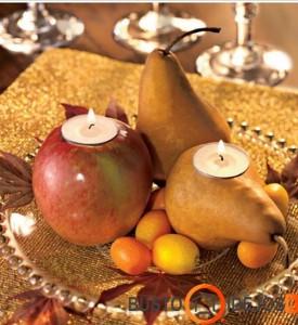 Populiariausių vaisių kompozicija su žvakėmis