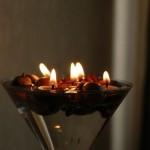 Įlietos žvakutės gilės kepurėlėje