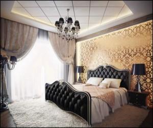 Modernūs pastatomi šviestuvai klasikinio stiliaus miegamajame