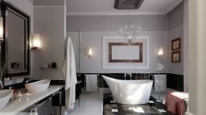 Eklektiškas vonios kambarys