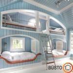 Į laivo kajutes primenanti dviaukštė lova keturiems vaikams