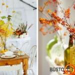 Vietoj gėlių stalo dekorui puikiai tinka šakos su lapais ir uogomis