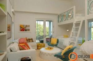 Miela dviaukštė lova su aukšta pertvarėle antrame aukšte