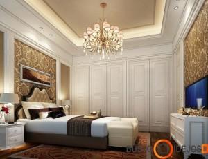 Klasikiniai tapetai kambaryje sukuria elegancijos ir išskirtinumo įspūdį