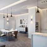Juodi šviestuvai virtuvę bei valgomąjį atskiria nuo poilsio zonos