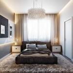 Miegamajame taip pat dominuoja pastelinės šviesios spalvos